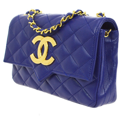 CHANEL Quilted CC Single Chain Shoulder Bag Blue