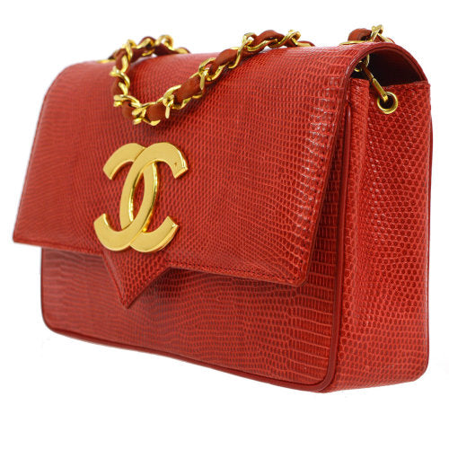 CHANEL CC Single Chain Shoulder Bag Red Lizard