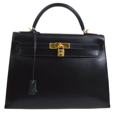 HERMES KELLY 32 SELLIER 2way Hand Bag Black Box Calf
