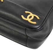 CHANEL CC Logos Chain Shoulder Tote Bag Black