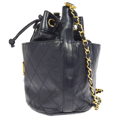CHANEL Quilted CC Logos Drawstring Chain Shoulder Bag Navy