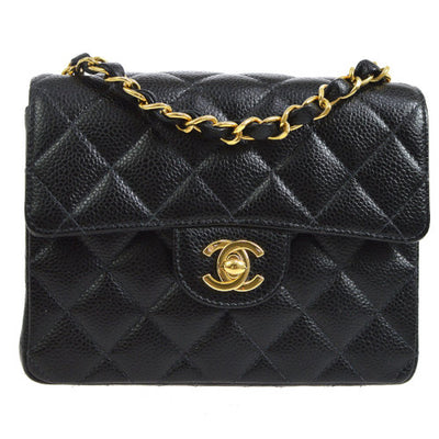 CHANEL Quilted Classic Flap Mini Square Shoulder Bag Black Caviar
