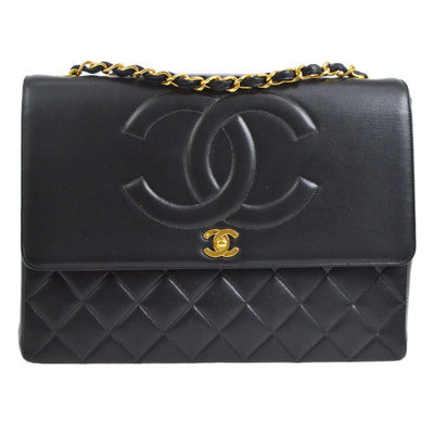 CHANEL Quilted Classic Flap Maxi Shoulder Bag Black
