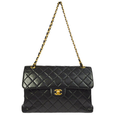 CHANEL Quilted Both Sides Flap Classis Jumbo Shoulder Bag Black