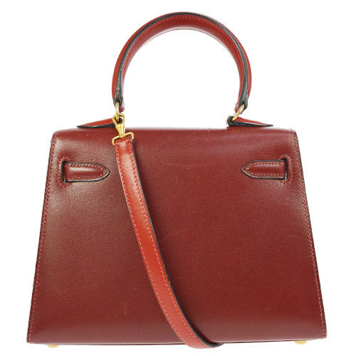HERMES MINI KELLY 20 2way Hand Bag Red Box Calf