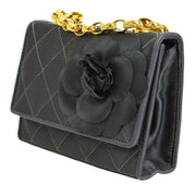 CHANEL Quilted Camellia CC Single Chain Shoulder Bag Gray