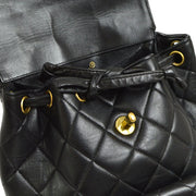 CHANEL Duma Quilted CC Chain Drawstring Backpack Black