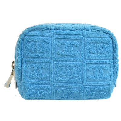 CHANEL CC Cosmetic Pouch Light Blue Terry Cloth