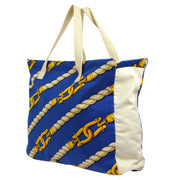 HERMES Shoulder Tote Bag Blue Gold White