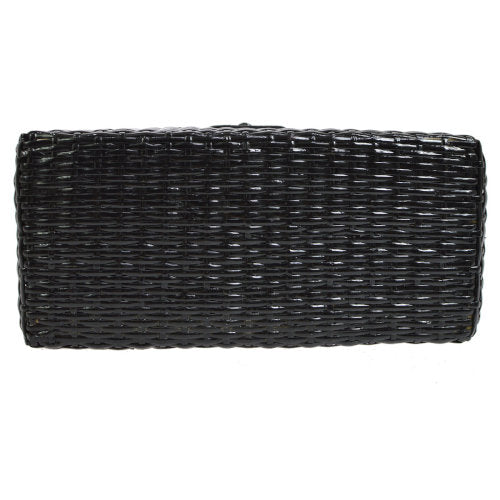 CHANEL CC Logos Shoulder Bag Black Rattan