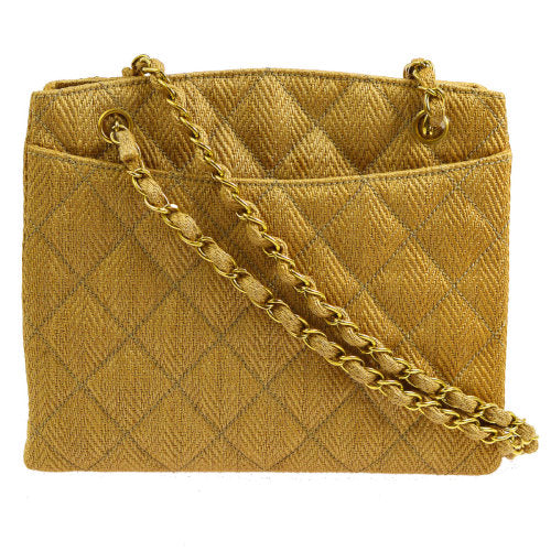 CHANEL Quilted CC Logos Chain Shoulder Bag Brown Linen