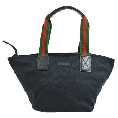 GUCCI GG Shelly Line Hand Bag Black Canvas
