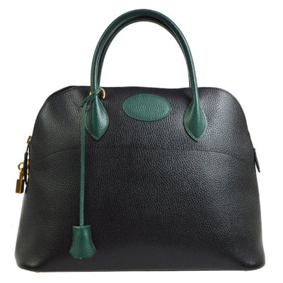 HERMES BOLIDE 37 2way Hand Bag Bi-Color Black Vert Anglais Ardenne