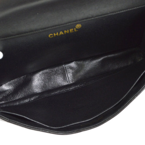 CHANEL Quilted Both Side Flap Classic Jumbo Shoulder Bag Black