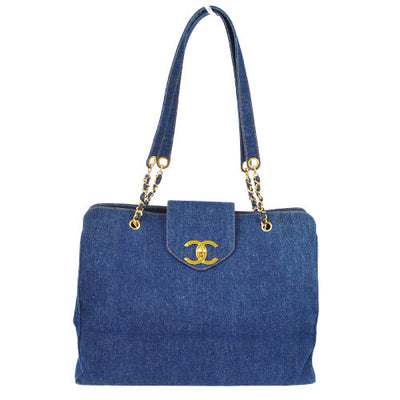 CHANEL SUPER MODEL Jumbo XL Chain Shoulder Bag Indigo Denim