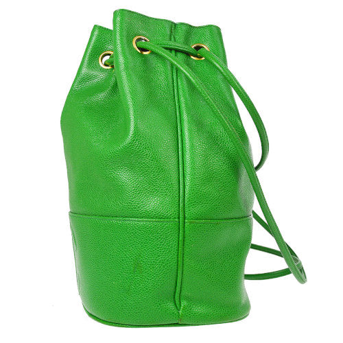 CHANEL CC Logos Drawstring Shoulder Bag Green