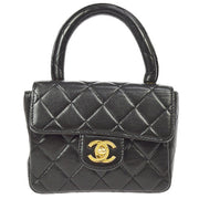 CHANEL Quilted CC Logos Hand Bag Black