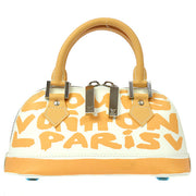 LOUIS VUITTON GRAFFITI ALMA PM HAND BAG BEIGE LEATHER M92178