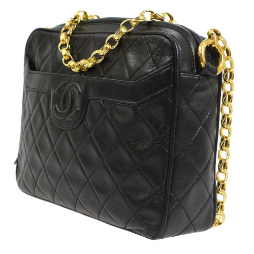 CHANEL Quilted Fringe CC Single Chain Shoulder Bag Black