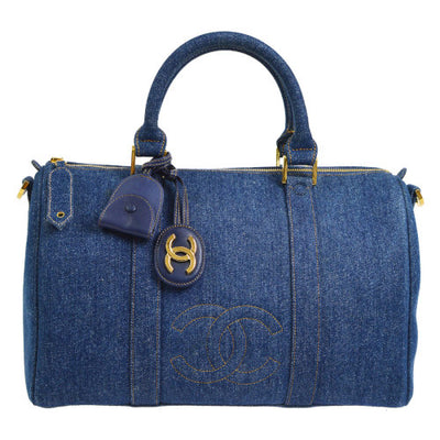 CHANEL CC Logos 2way Travel Hand Bag Indigo Denim