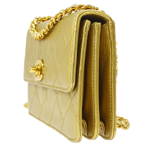 CHANEL Quilted Classic Flap Micro Shoulder Bag Gold