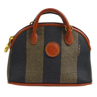 FENDI Pequin Pattern 2way Mini Hand Bag Brown