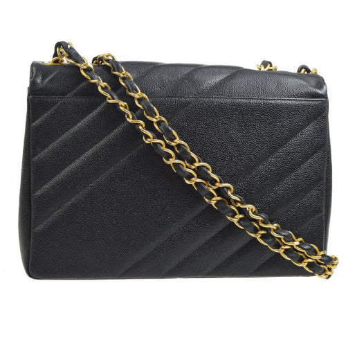 CHANEL Classic Flap Jumbo Shoulder Bag Black Caviar