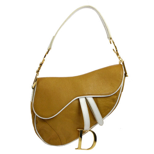 Christian Dior Saddle Hand Bag Brown White