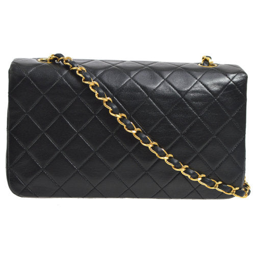 CHANEL Quilted CC Full Flap Single Chain Shoulder Bag Black