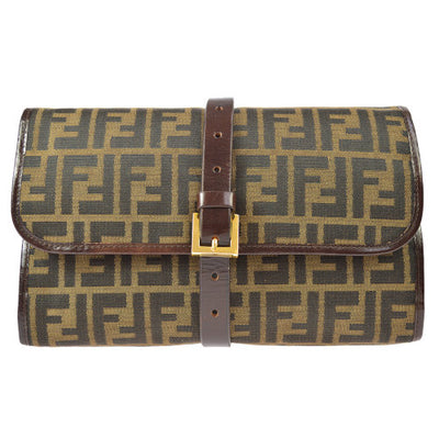FENDI Zucca Clutch Brown Black