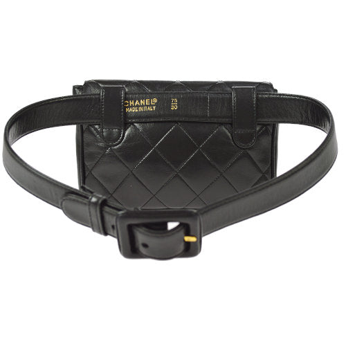 CHANEL Quilted CC Bum Bag Waist Pouch Black
