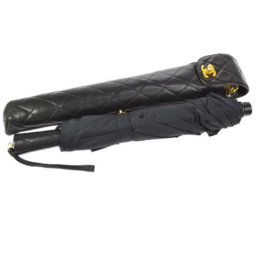 CHANEL Quilted CC Folding Umbrella Black