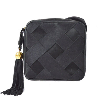 CHANEL Quilted CC Fringe Cross Body Shoulder Bag Black