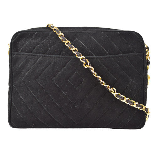 CHANEL Quilted CC Fringe Chain Shoulder Bag Black