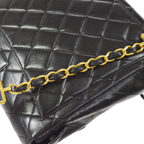 CHANEL Quilted CC Chain Drawstring Backpack Black