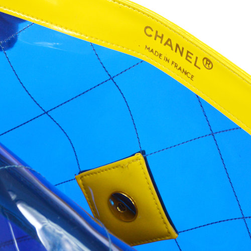CHANEL Quilted Classic Flap Maxi Shoulder Bag Yellow Blue Vinyl