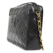 CHANEL Quilted CC Logos Fringe Chain Shoulder Bag Black