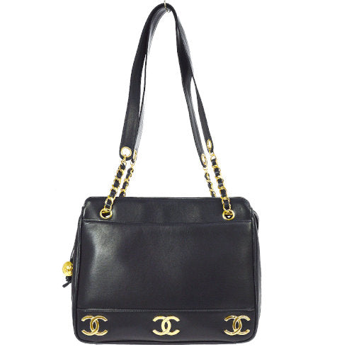 CHANEL CC Logos Chain Shoulder Tote Bag Navy