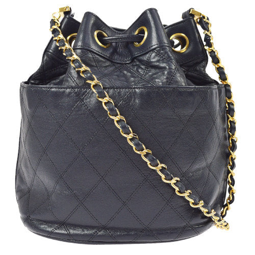 CHANEL Quilted CC Drawstring Chain Shoulder Bag Navy