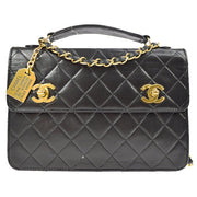 CHANEL Quilted CC Chain 2way Hand Bag Black