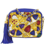 CHANEL Quilted CC Fringe Chain Shoulder Bag Blue Satin