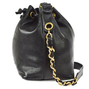 CHANEL CC Drawstring Chain Shoulder Bag Black