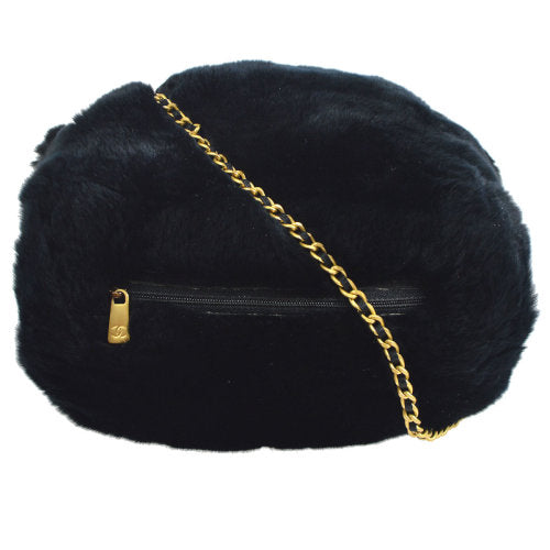 CHANEL Lapin Fur Hand Warmer Black