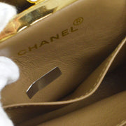 CHANEL V Stitch CC Double Chain Shoulder Bag Brown