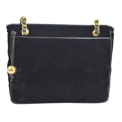 CHANEL CC Chain Shoulder Tote Bag Black Velvet