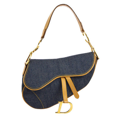 Christian Dior Saddle Hand Bag Blue Brown Denim