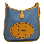 HERMES EVELYNE GM Shoulder Bag BL BR Toile Jean Vache Naturelle