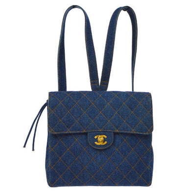 CHANEL Quilted CC Logos Chain Backpack Indigo Denim