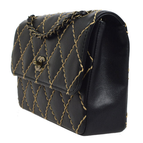 CHANEL Wild Stitch Classic Single Flap Medium Shoulder Bag Black