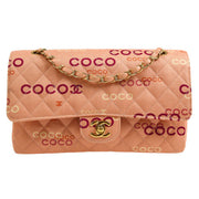 CHANEL Quilted Classic Double Flap Medium Shoulder Bag Pink